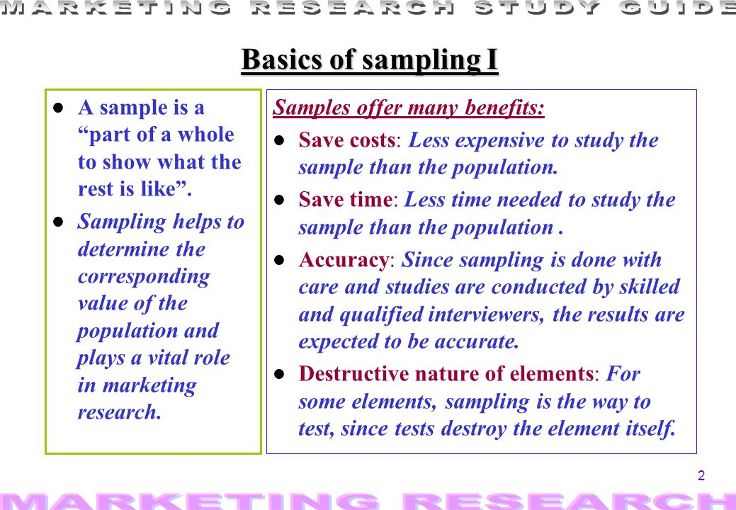 2 Basics of sampling I l A sample is a part of a whole to show what the rest is like.