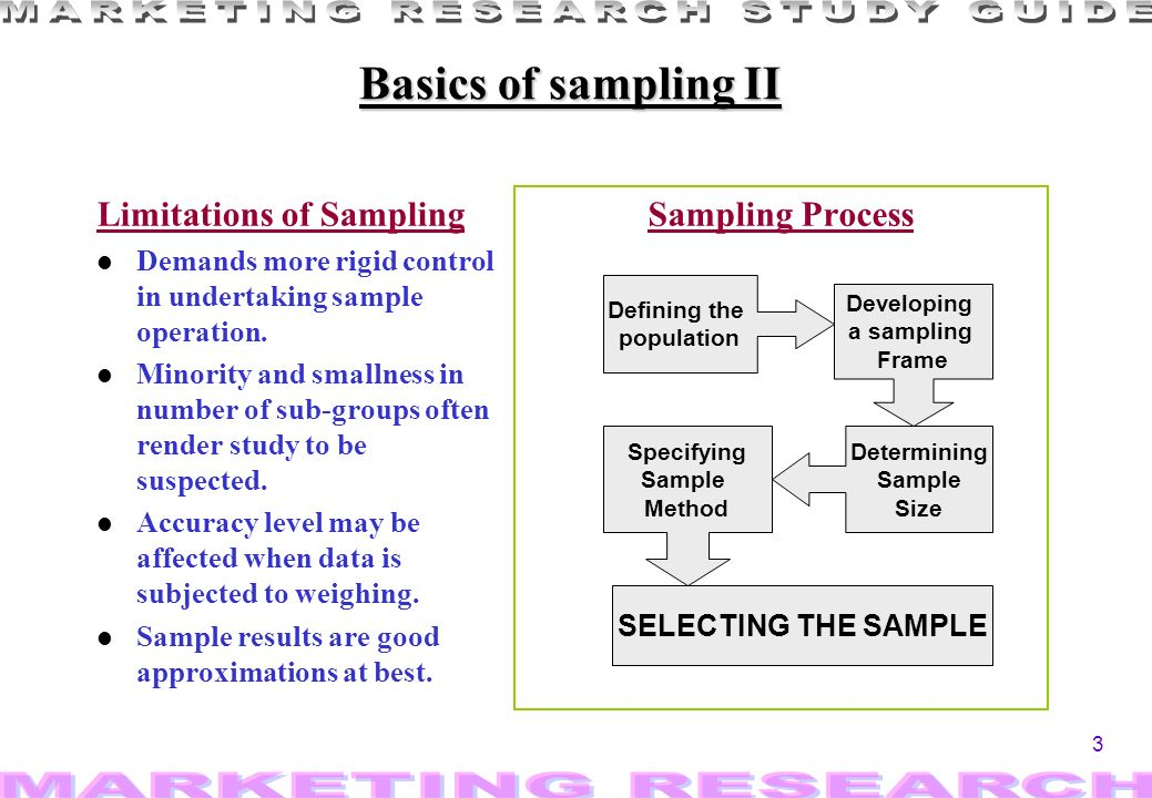 3 Basics of sampling II Limitations of Sampling l Demands more rigid control in undertaking sample operation. l Minority and smallness in number of su
