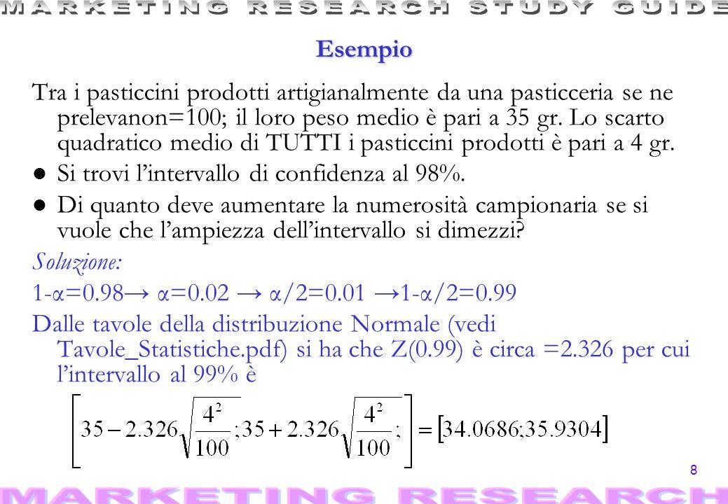 8 Esempio Tra i pasticcini prodotti artigianalmente da una pasticceria se ne prelevanon=100; il loro peso medio è pari a 35 gr.