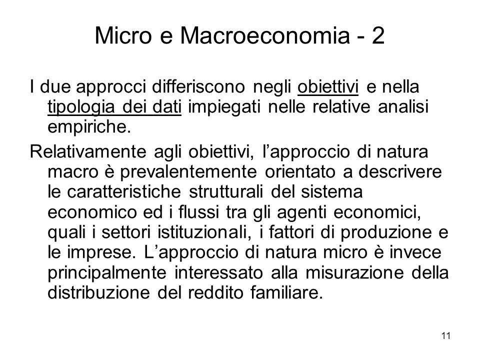 11 Micro e Macroeconomia - 2 I due approcci differiscono negli obiettivi e nella tipologia dei dati impiegati nelle relative analisi empiriche. Relati