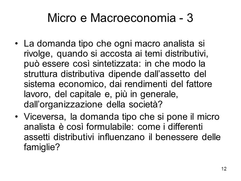 12 Micro e Macroeconomia - 3 La domanda tipo che ogni macro analista si rivolge, quando si accosta ai temi distributivi, può essere così sintetizzata: