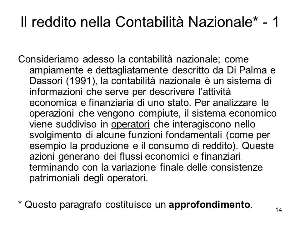 14 Il reddito nella Contabilità Nazionale* - 1 Consideriamo adesso la contabilità nazionale; come ampiamente e dettagliatamente descritto da Di Palma
