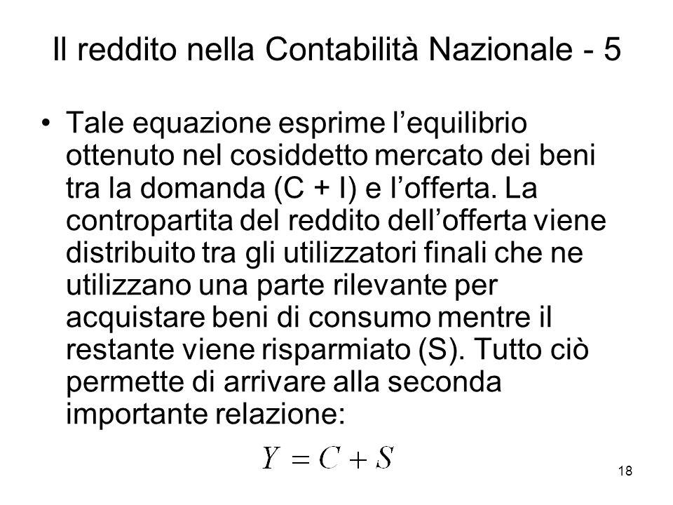 18 Il reddito nella Contabilità Nazionale - 5 Tale equazione esprime lequilibrio ottenuto nel cosiddetto mercato dei beni tra la domanda (C + I) e lof