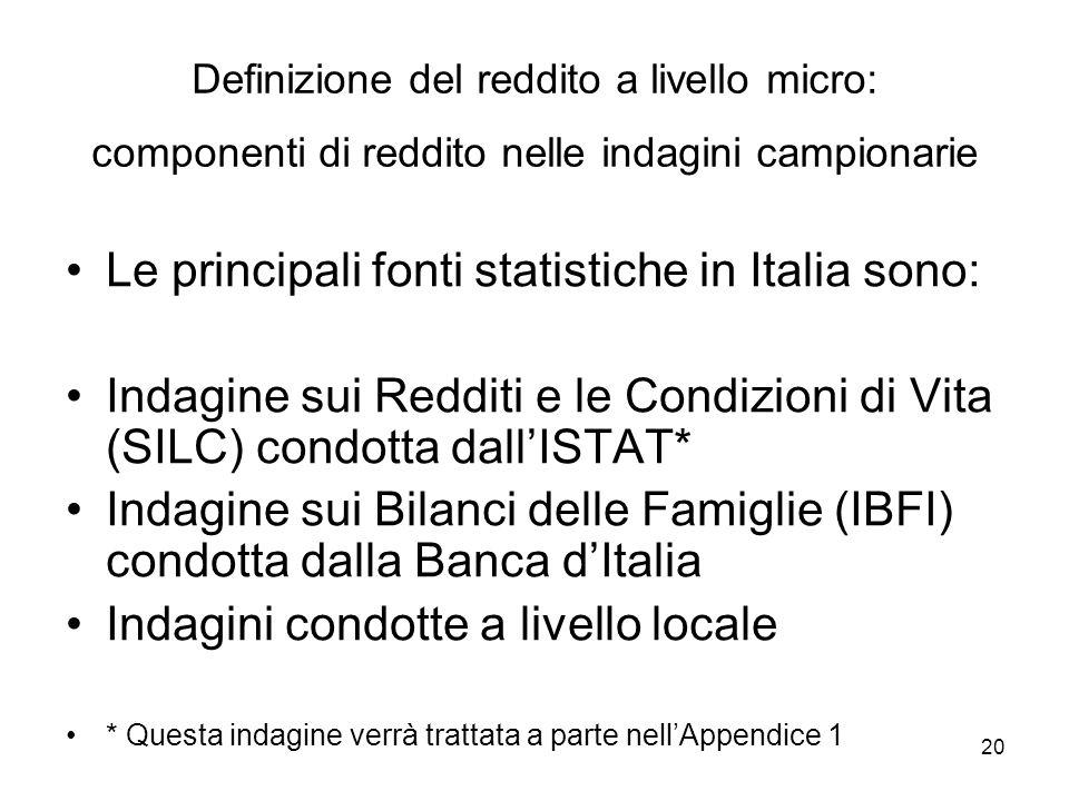 20 Definizione del reddito a livello micro: componenti di reddito nelle indagini campionarie Le principali fonti statistiche in Italia sono: Indagine
