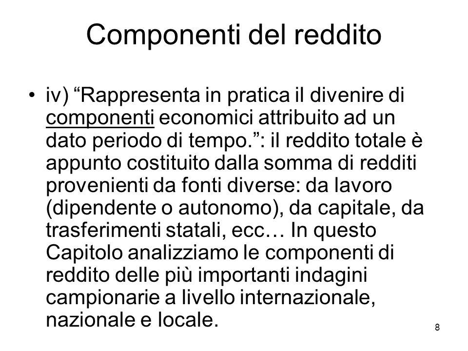 8 Componenti del reddito iv) Rappresenta in pratica il divenire di componenti economici attribuito ad un dato periodo di tempo.: il reddito totale è a
