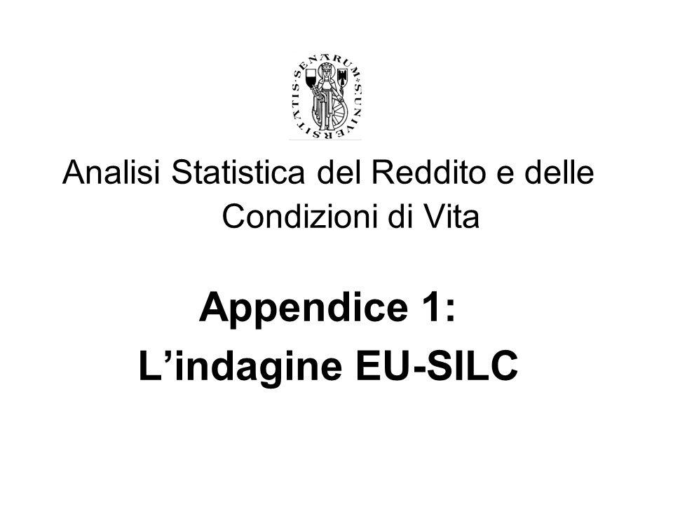 2 Argomenti trattati: - Obiettivi conoscitivi - Popolazione obiettivo - Unità di rilevazione - Periodicità e riferimento temporale - Differenze tra EU-SILC e ECHP - Il disegno di indagine - Definizioni di reddito - Le strategie di rilevazione dei redditi - Redditi lordi, imposte, contributi sociali e comparabilità internazionale - Strategia di campionamento e precisione delle stime - Strategie di controllo e correzione delle informazioni - Strategie di ponderazione per le stime