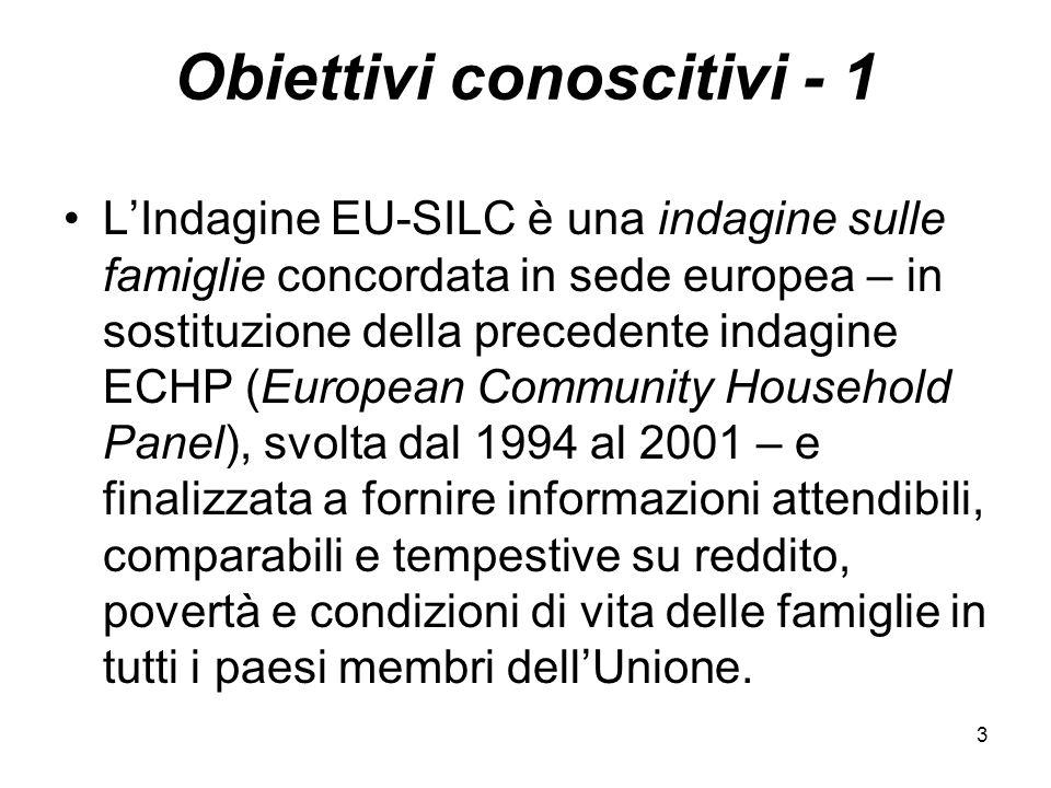 34 Redditi lordi, imposte, contributi sociali e comparabilità internazionale - 2 Un altro obiettivo ritenuto fondamentale dal progetto EU-SILC, è la comparabilità internazionale dei dati, ottenuta grazie ad opportuni studi metodologici.