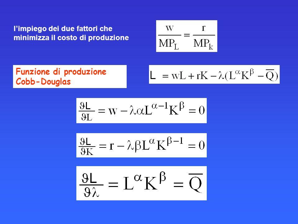limpiego dei due fattori che minimizza il costo di produzione Funzione di produzione Cobb-Douglas