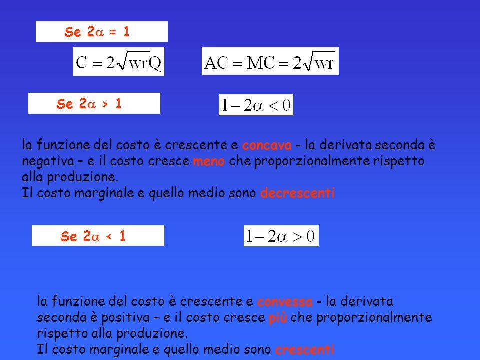 Se 2 = 1 Se 2 > 1 la funzione del costo è crescente e concava - la derivata seconda è negativa – e il costo cresce meno che proporzionalmente rispetto