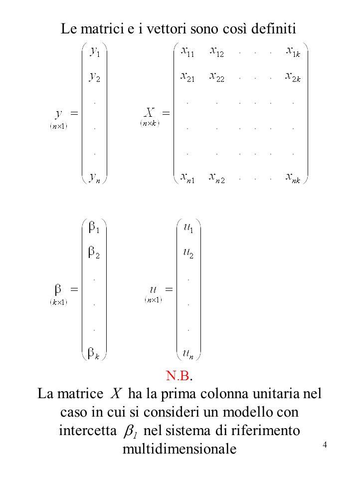4 N.B. La matrice X ha la prima colonna unitaria nel caso in cui si consideri un modello con intercetta 1 nel sistema di riferimento multidimensionale