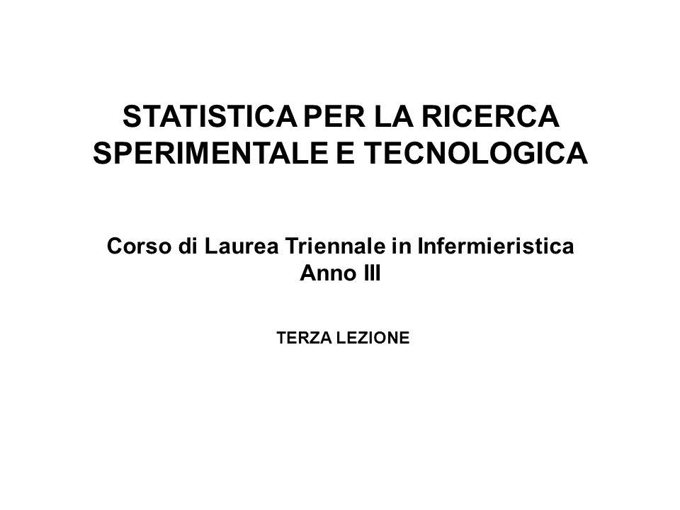 STATISTICA PER LA RICERCA SPERIMENTALE E TECNOLOGICA Corso di Laurea Triennale in Infermieristica Anno III TERZA LEZIONE