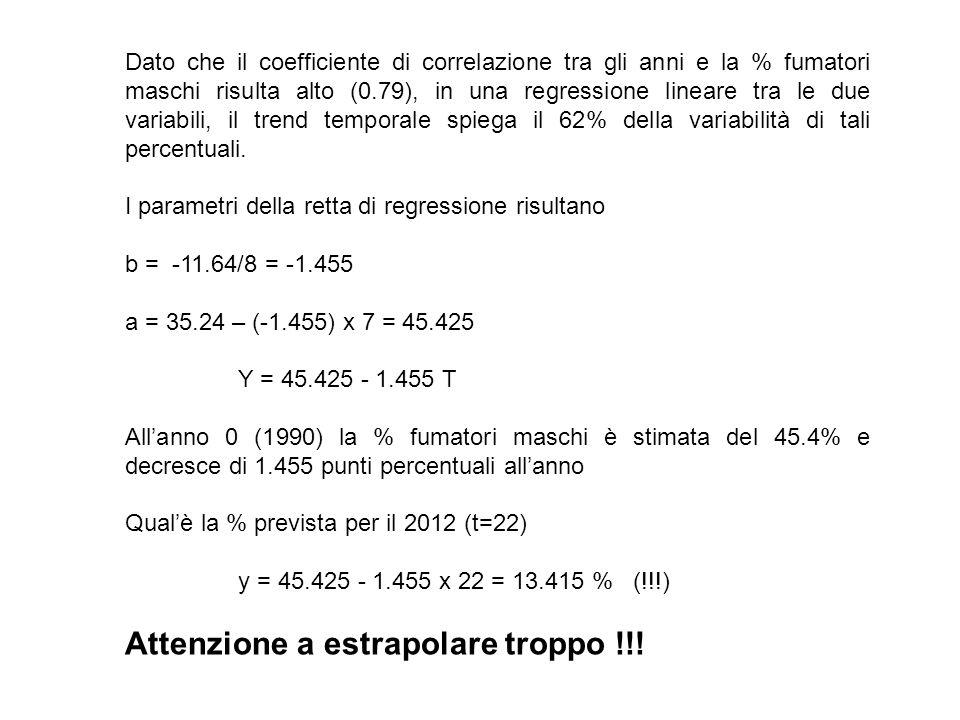 Dato che il coefficiente di correlazione tra gli anni e la % fumatori maschi risulta alto (0.79), in una regressione lineare tra le due variabili, il