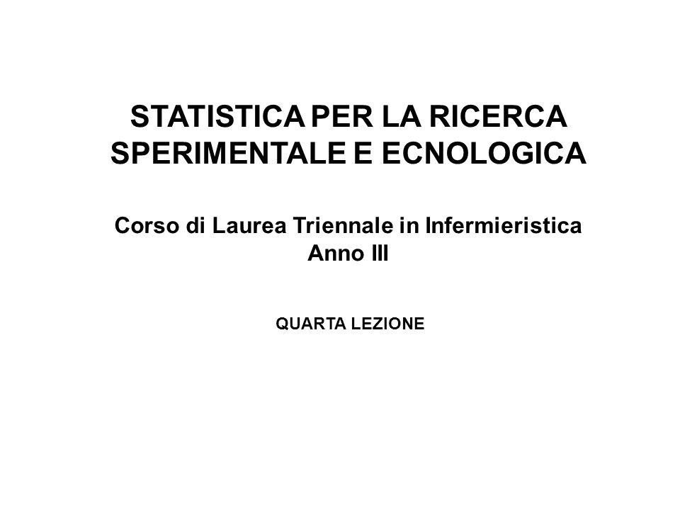 STATISTICA PER LA RICERCA SPERIMENTALE E ECNOLOGICA Corso di Laurea Triennale in Infermieristica Anno III QUARTA LEZIONE