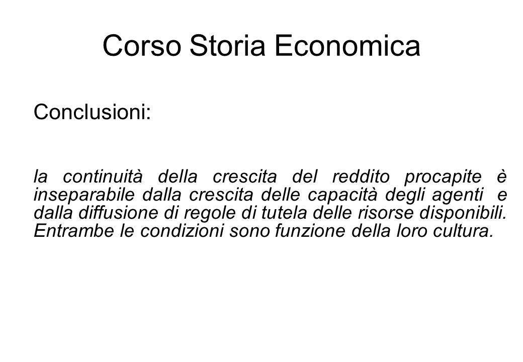 Corso Storia Economica Conclusioni: la continuità della crescita del reddito procapite è inseparabile dalla crescita delle capacità degli agenti e dal