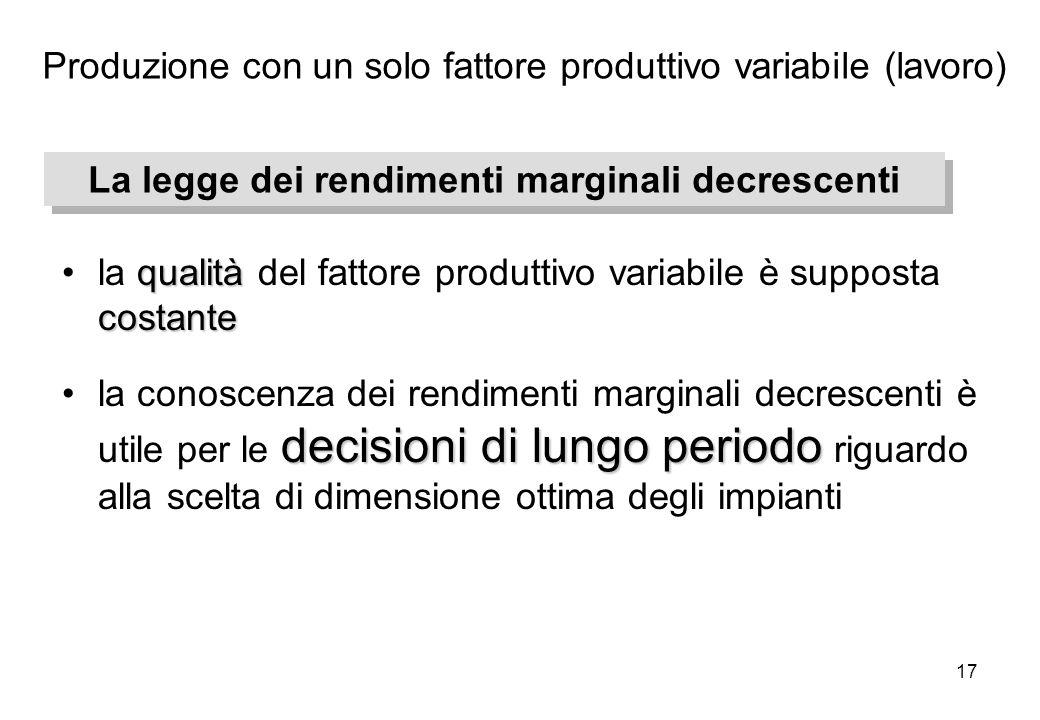 17 qualità costantela qualità del fattore produttivo variabile è supposta costante decisioni di lungo periodola conoscenza dei rendimenti marginali de