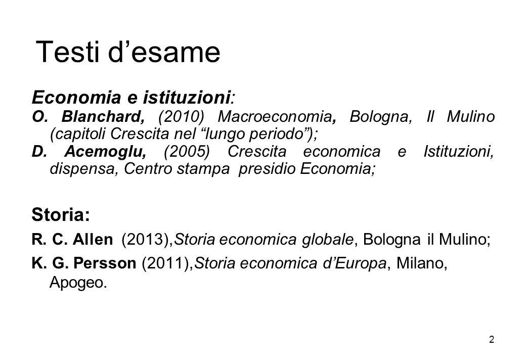 Testi desame Economia e istituzioni: O. Blanchard, (2010) Macroeconomia, Bologna, Il Mulino (capitoli Crescita nel lungo periodo); D. Acemoglu, (2005)