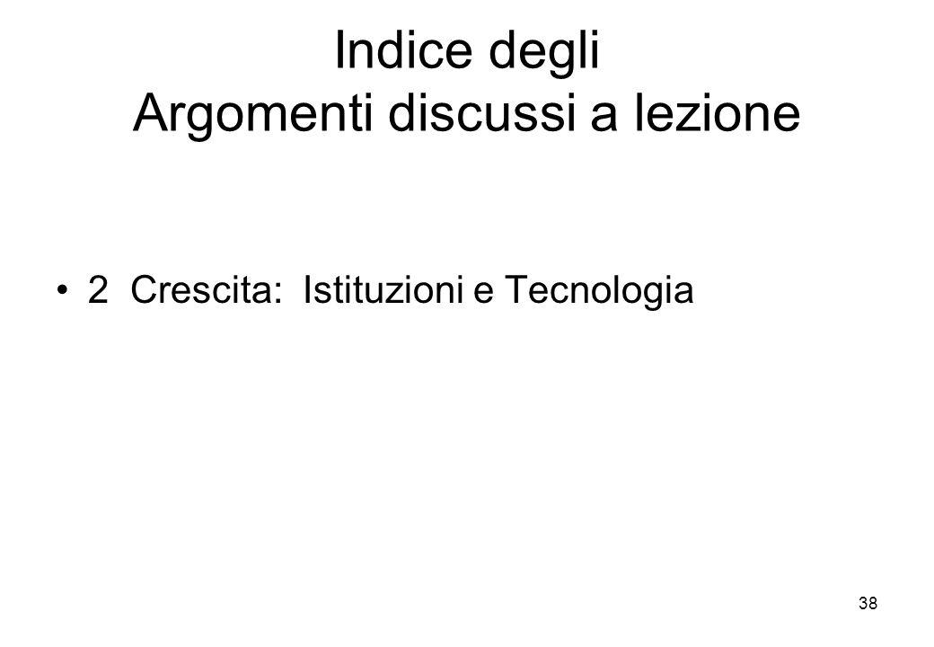 Indice degli Argomenti discussi a lezione 2 Crescita: Istituzioni e Tecnologia 38