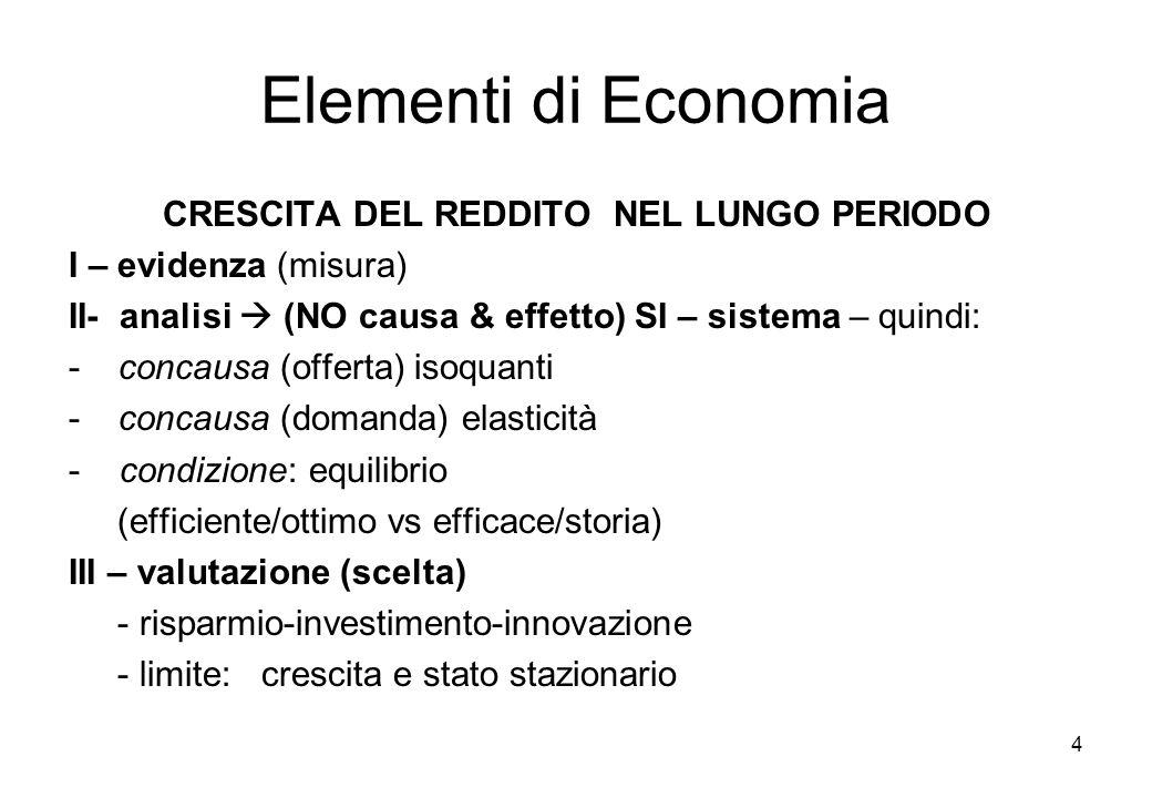 Elementi di Economia CRESCITA DEL REDDITO NEL LUNGO PERIODO I – evidenza (misura) II- analisi (NO causa & effetto) SI – sistema – quindi: - concausa (