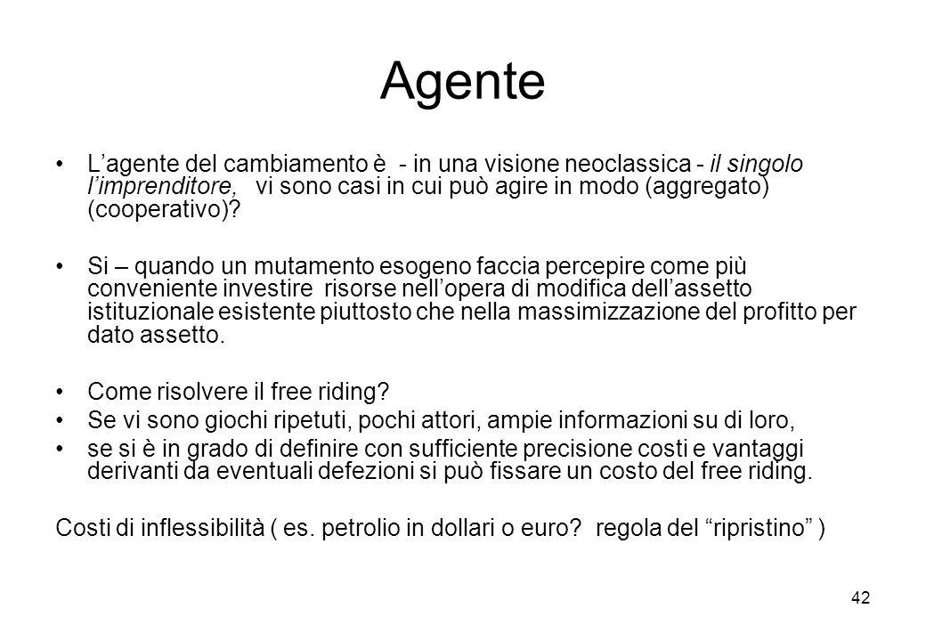 42 Agente Lagente del cambiamento è - in una visione neoclassica - il singolo limprenditore, vi sono casi in cui può agire in modo (aggregato) (cooper