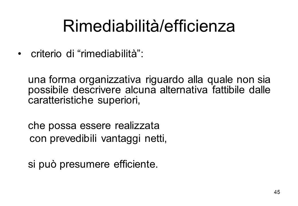 45 Rimediabilità/efficienza criterio di rimediabilità: una forma organizzativa riguardo alla quale non sia possibile descrivere alcuna alternativa fat