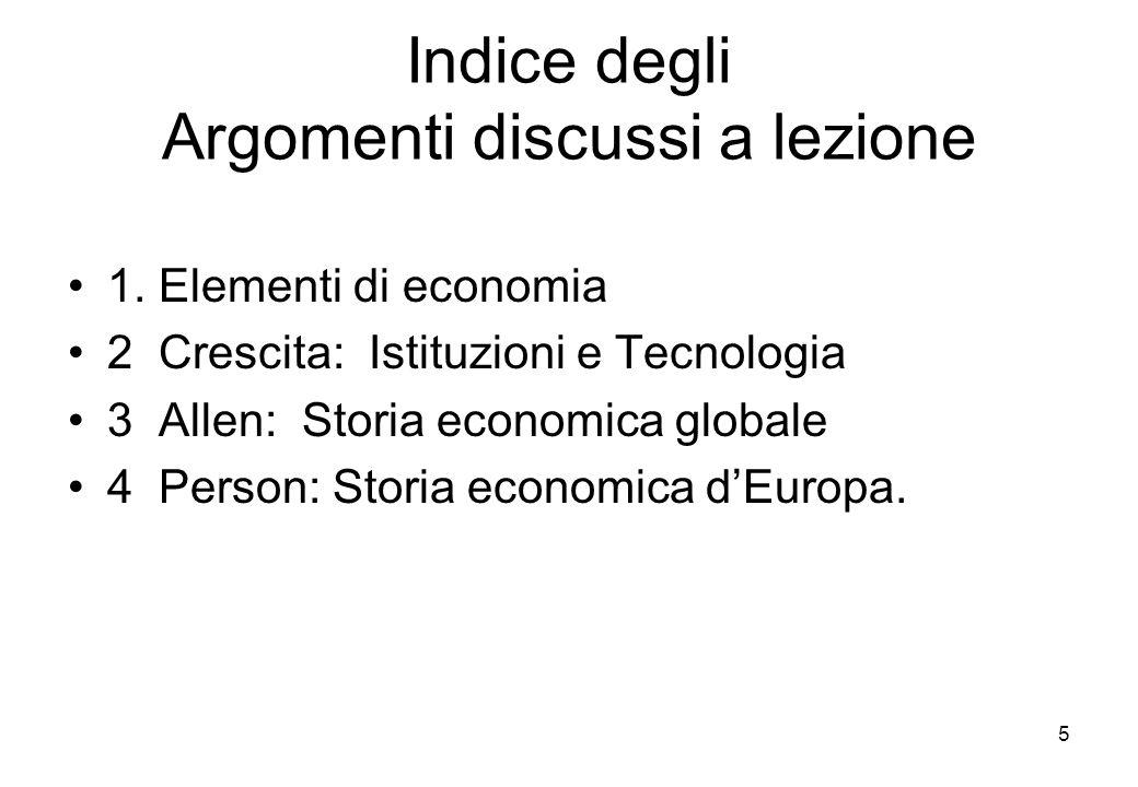 Indice degli Argomenti discussi a lezione 1. Elementi di economia 2 Crescita: Istituzioni e Tecnologia 3 Allen: Storia economica globale 4 Person: Sto
