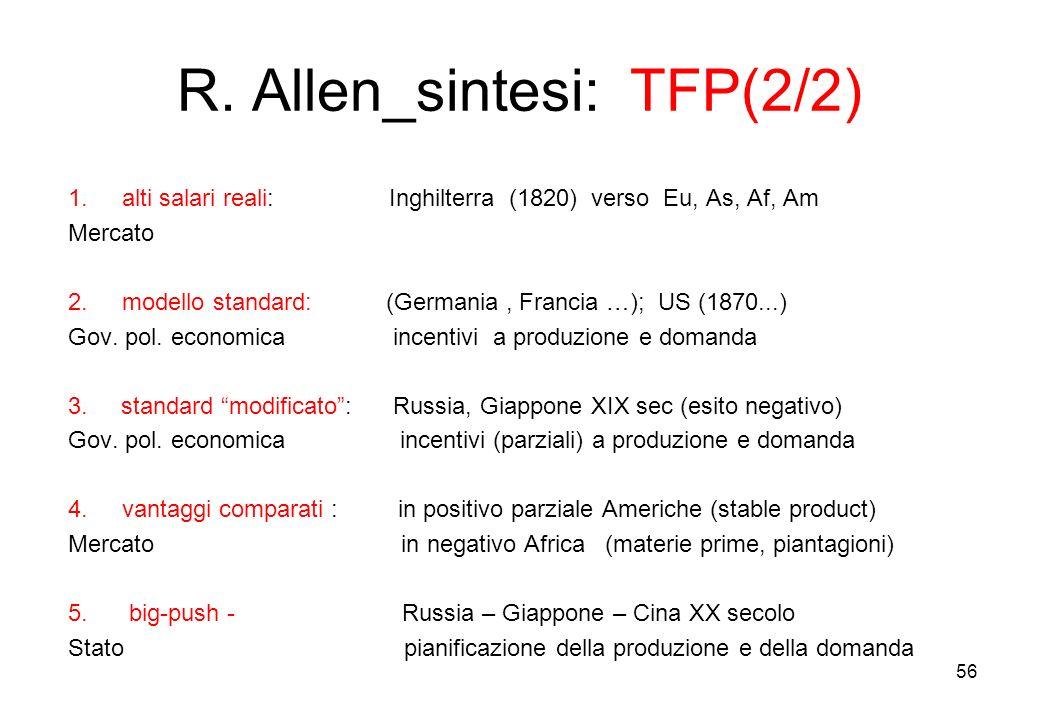 R. Allen_sintesi: TFP(2/2) 1.alti salari reali: Inghilterra (1820) verso Eu, As, Af, Am Mercato 2.modello standard: (Germania, Francia …); US (1870...