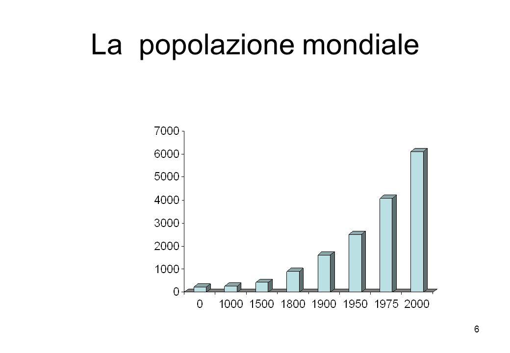7 La disponibilità di beni e servizi pro capite nel 1990 era 4 mld oggi 7 mld