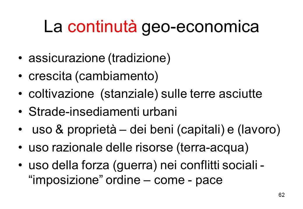 La continutà geo-economica assicurazione (tradizione) crescita (cambiamento) coltivazione (stanziale) sulle terre asciutte Strade-insediamenti urbani