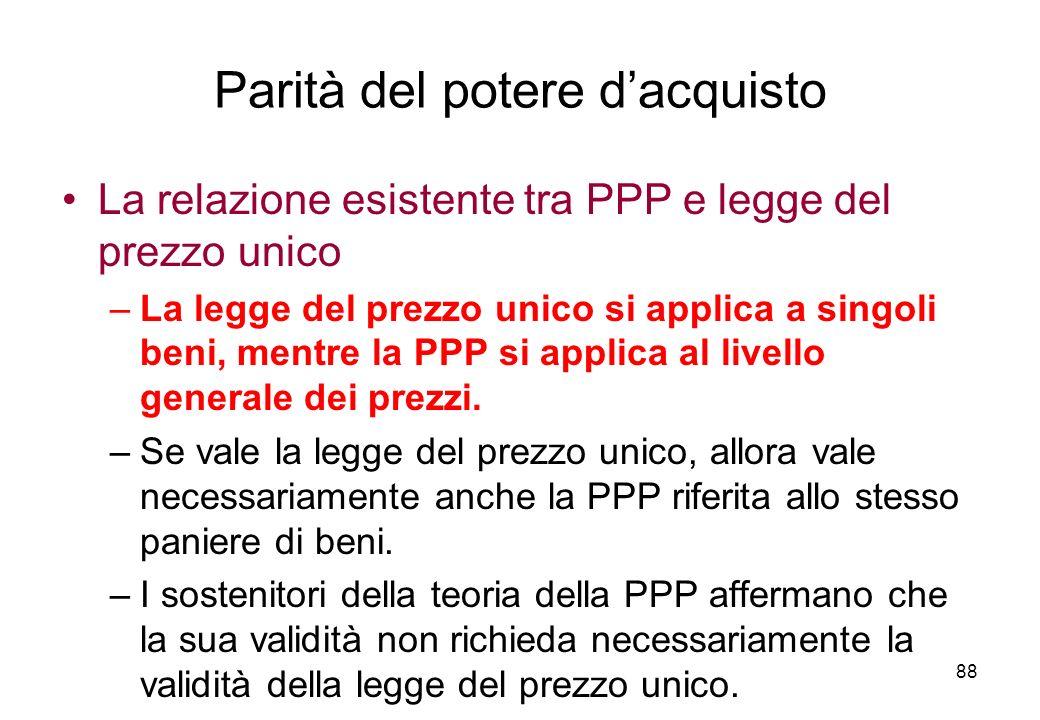 La relazione esistente tra PPP e legge del prezzo unico –La legge del prezzo unico si applica a singoli beni, mentre la PPP si applica al livello gene