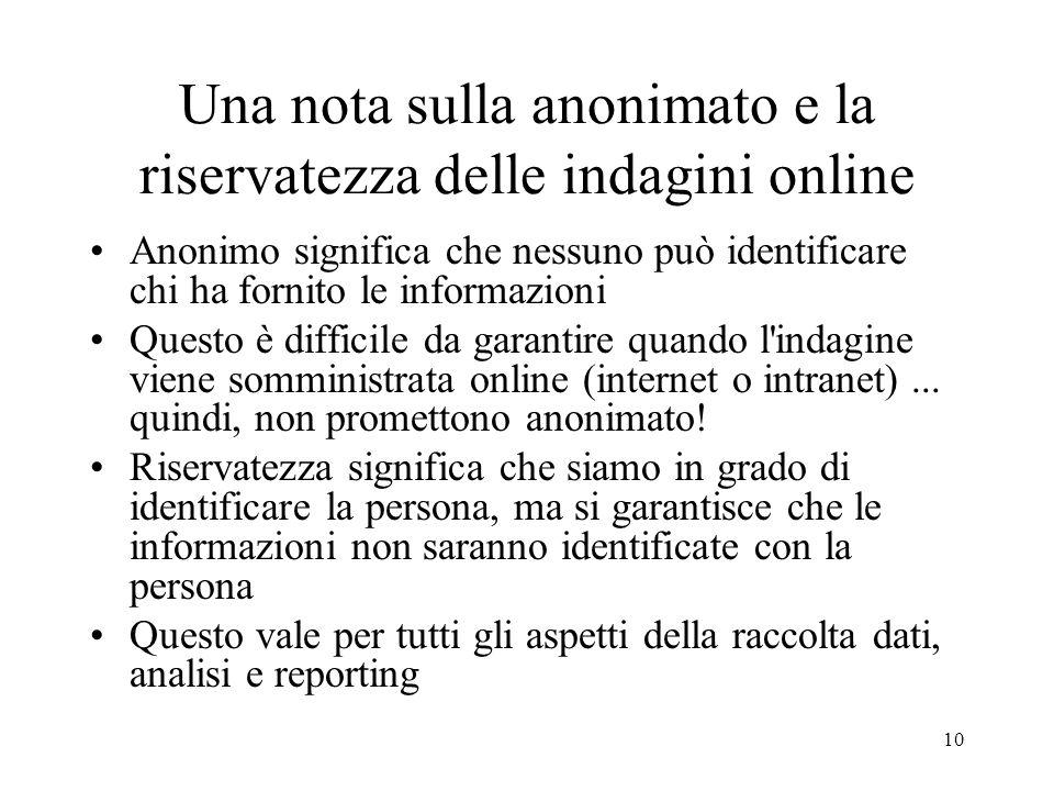10 Una nota sulla anonimato e la riservatezza delle indagini online Anonimo significa che nessuno può identificare chi ha fornito le informazioni Ques