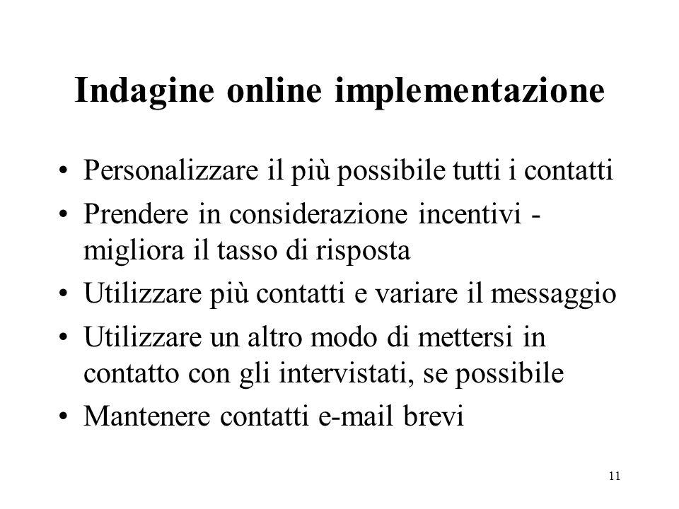 11 Indagine online implementazione Personalizzare il più possibile tutti i contatti Prendere in considerazione incentivi - migliora il tasso di rispos