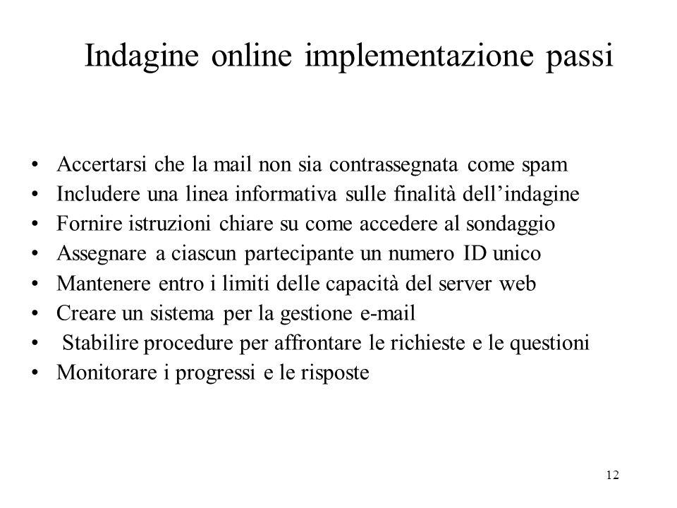12 Accertarsi che la mail non sia contrassegnata come spam Includere una linea informativa sulle finalità dellindagine Fornire istruzioni chiare su co