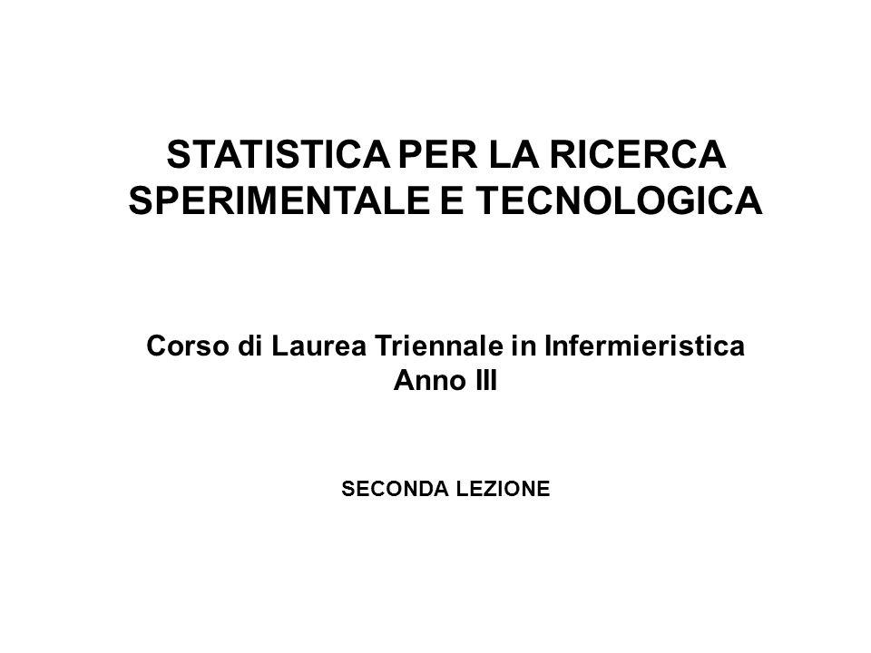 STATISTICA PER LA RICERCA SPERIMENTALE E TECNOLOGICA Corso di Laurea Triennale in Infermieristica Anno III SECONDA LEZIONE