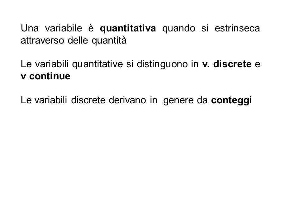 Una variabile è quantitativa quando si estrinseca attraverso delle quantità Le variabili quantitative si distinguono in v. discrete e v continue Le va