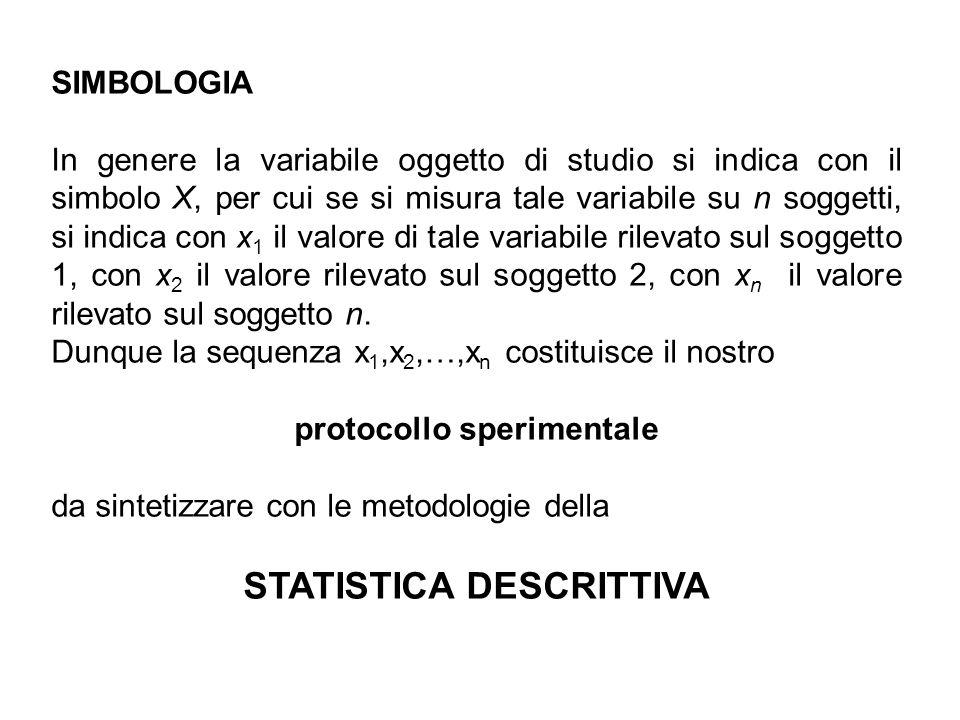 SIMBOLOGIA In genere la variabile oggetto di studio si indica con il simbolo X, per cui se si misura tale variabile su n soggetti, si indica con x 1 i