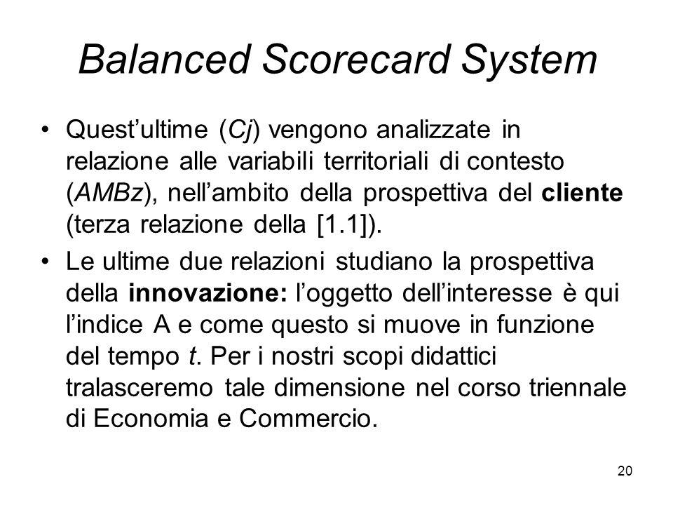 20 Balanced Scorecard System Questultime (Cj) vengono analizzate in relazione alle variabili territoriali di contesto (AMBz), nellambito della prospet