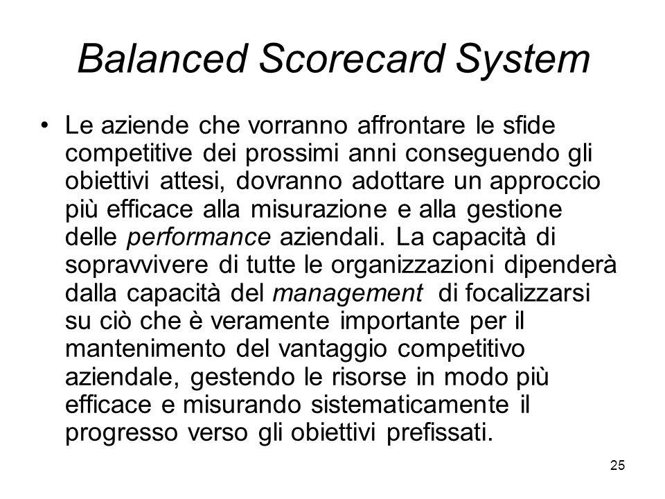 25 Balanced Scorecard System Le aziende che vorranno affrontare le sfide competitive dei prossimi anni conseguendo gli obiettivi attesi, dovranno adot