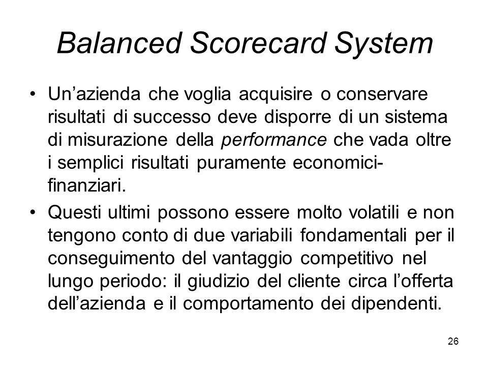 26 Balanced Scorecard System Unazienda che voglia acquisire o conservare risultati di successo deve disporre di un sistema di misurazione della perfor