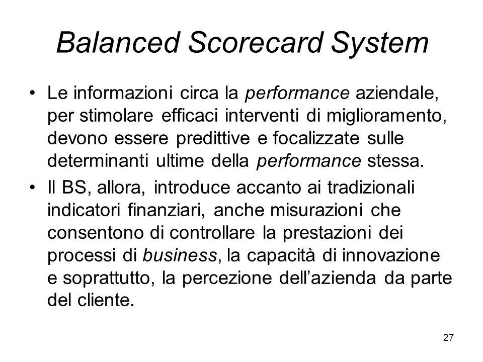 27 Balanced Scorecard System Le informazioni circa la performance aziendale, per stimolare efficaci interventi di miglioramento, devono essere preditt