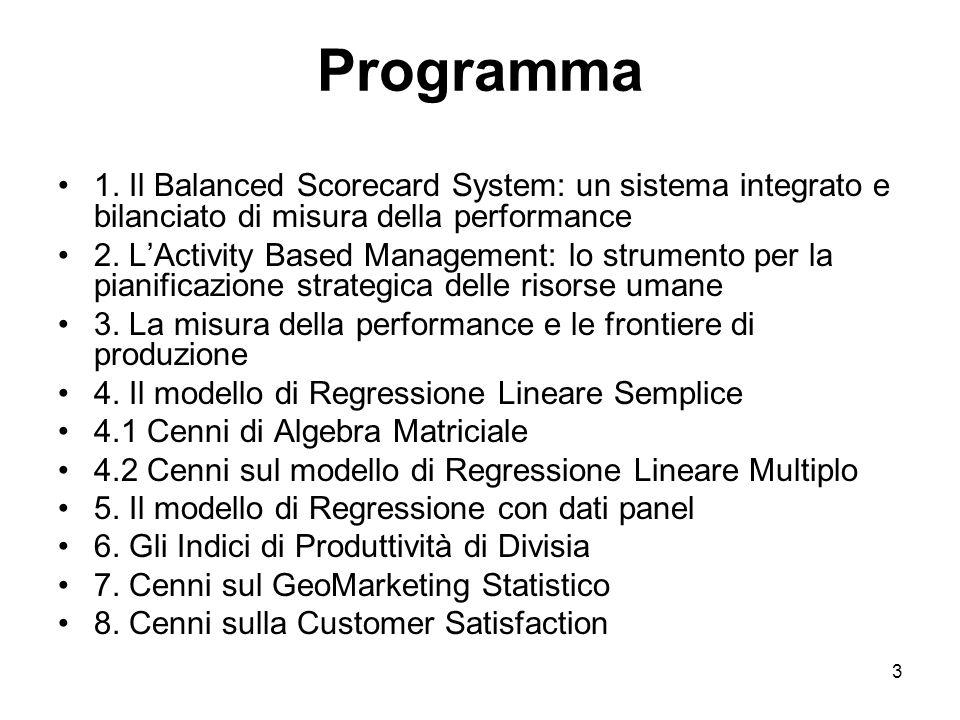 3 Programma 1. Il Balanced Scorecard System: un sistema integrato e bilanciato di misura della performance 2. LActivity Based Management: lo strumento