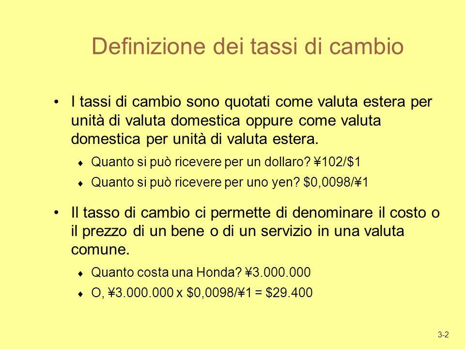 3-2 Definizione dei tassi di cambio I tassi di cambio sono quotati come valuta estera per unità di valuta domestica oppure come valuta domestica per unità di valuta estera.