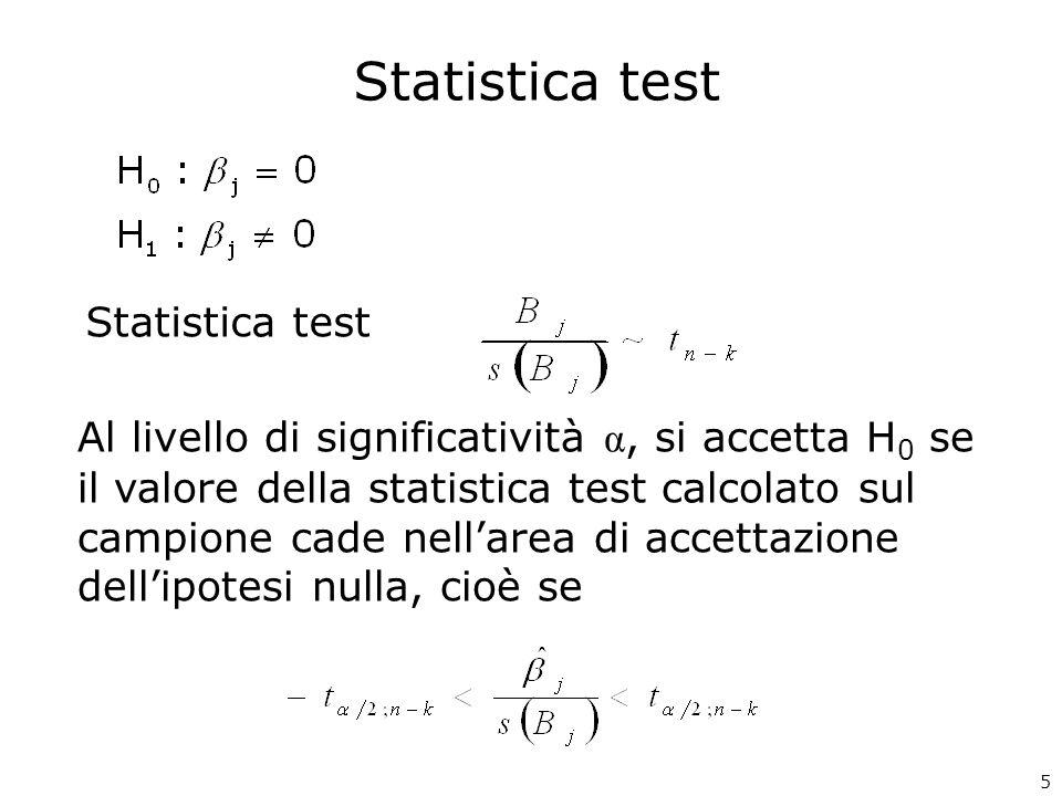 Statistica test Al livello di significatività α, si accetta H 0 se il valore della statistica test calcolato sul campione cade nellarea di accettazion