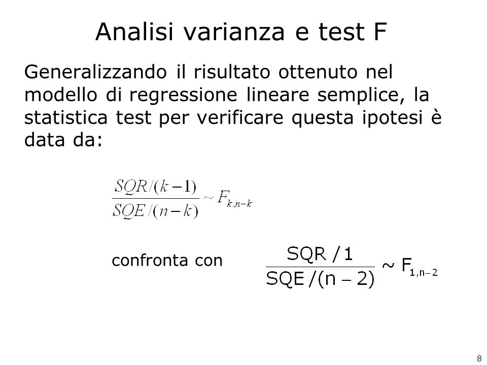 29 Statistica della regressione R multiplo0,990 R al quadrato0,981 R al quadrato corretto0,971 Errore standard0,213 Osservazioni10 ANALISI VARIANZA gdlSQMQFp-value Regressione313,9114,637101,9860,000 Errore60,2730,045 Totale914,184 Coeffici enti Errore standardStat tp-value Inferiore 95% Superiore 95% Intercetta6,1230,6499,4330,0004,5347,711 PREZ-0,1650,031-5,3950,002-0,240-0,090 TEMP0,2720,01715,8300,0000,2300,314 GIORNO0,6070,1444,2280,0060,2560,959 Riepilogo output