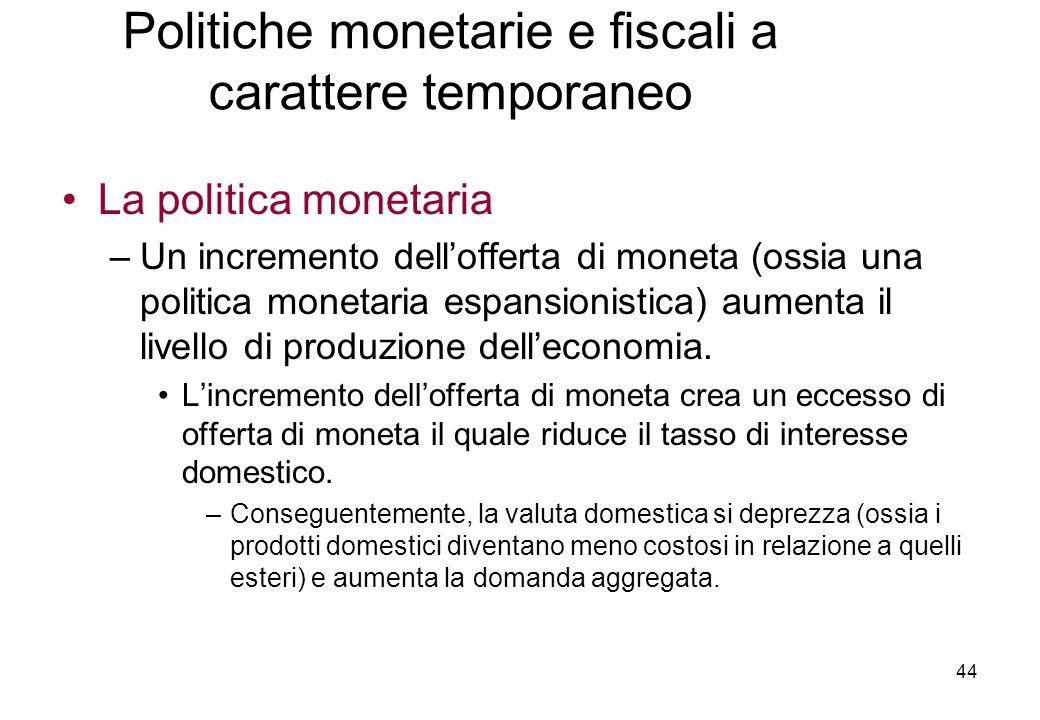 La politica monetaria –Un incremento dellofferta di moneta (ossia una politica monetaria espansionistica) aumenta il livello di produzione delleconomia.