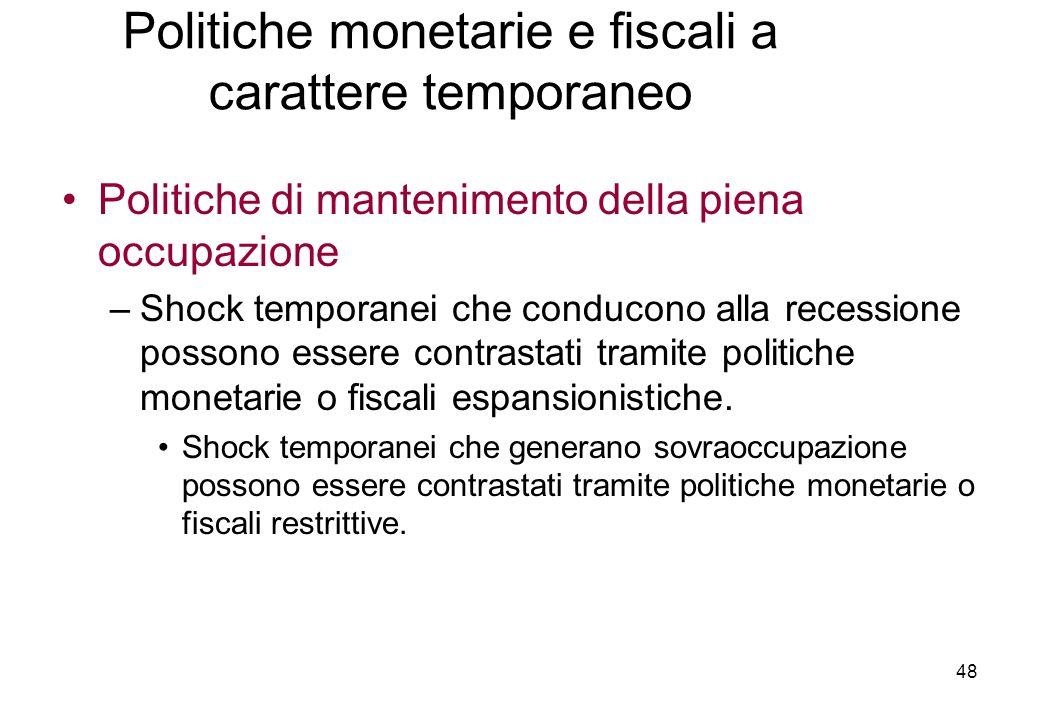 Politiche di mantenimento della piena occupazione –Shock temporanei che conducono alla recessione possono essere contrastati tramite politiche monetarie o fiscali espansionistiche.
