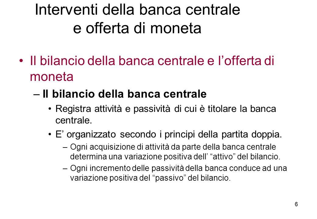 Il bilancio della banca centrale e lofferta di moneta –Il bilancio della banca centrale Registra attività e passività di cui è titolare la banca centrale.