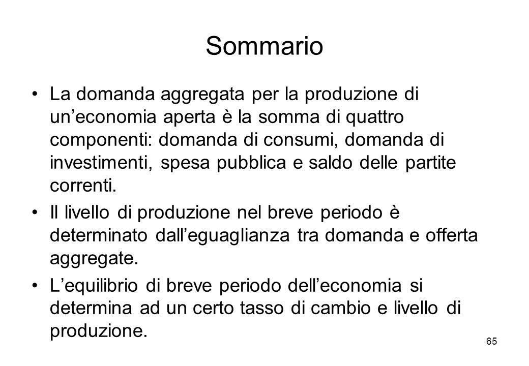 Sommario La domanda aggregata per la produzione di uneconomia aperta è la somma di quattro componenti: domanda di consumi, domanda di investimenti, spesa pubblica e saldo delle partite correnti.
