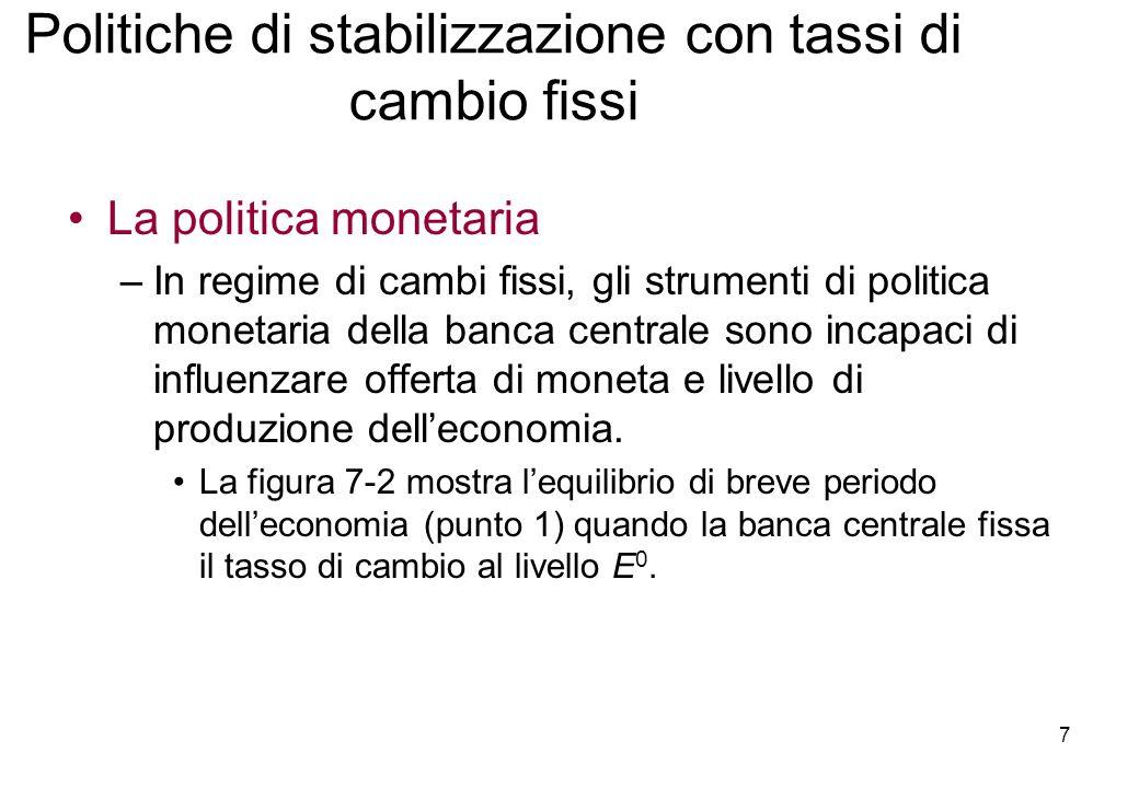Politiche di stabilizzazione con tassi di cambio fissi La politica monetaria –In regime di cambi fissi, gli strumenti di politica monetaria della banca centrale sono incapaci di influenzare offerta di moneta e livello di produzione delleconomia.
