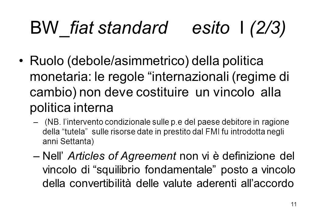BW_fiat standard esito I (2/3) Ruolo (debole/asimmetrico) della politica monetaria: le regole internazionali (regime di cambio) non deve costituire un