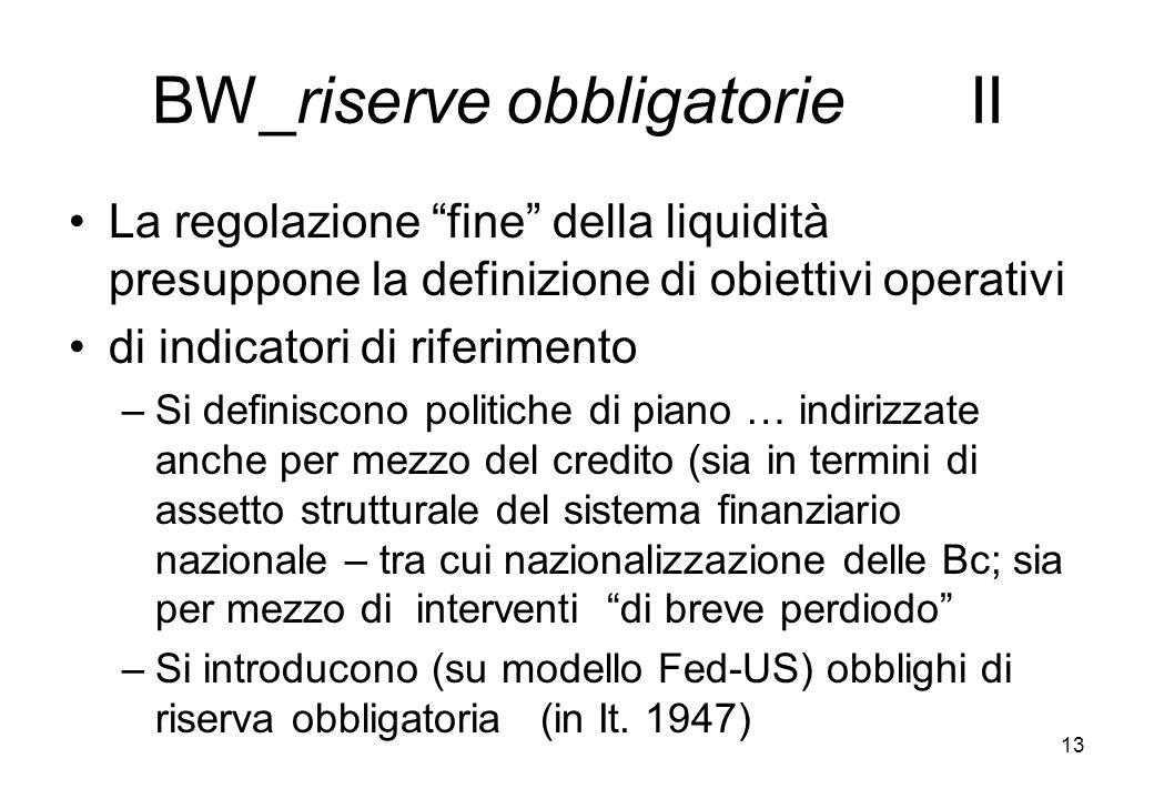 BW_riserve obbligatorie II La regolazione fine della liquidità presuppone la definizione di obiettivi operativi di indicatori di riferimento –Si defin